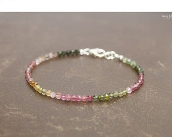 Watermelon Tourmaline Bracelet, Multi Stone, Watermelon Tourmaline Jewelry, Multicolored Ombre Gemstone Jewelry