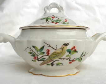vintage sugar bowl bird berries autumn fancy gold christmas colors container ceramic dining decor housewares