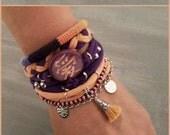Bohemian Bracelets Chinese Love Hieroglyph Peach Purple, Tassel Bracelet Modern Hippie Style, Jersey Layering Bracelet