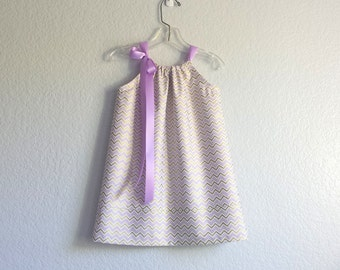 New! Girls Lavender and Gold Party Dress - Lavender and Metallic Gold Chevron Stripes - Size 12 m, 18m, 2T, 3T, 4T, 5, 6, 8 or 10