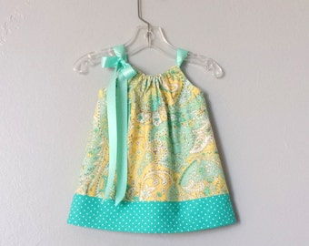 New! Baby Girls Yellow Dress and Bloomers Outfit - Yellow with Turquoise, Aqua and White - Baby Sun Dress - Size Nb, 3m, 6m, 9m, 12m or 18m