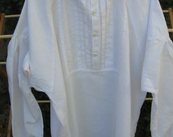 Handmade white cotton-linen pleated man's shirt, size Large, mid 19th century