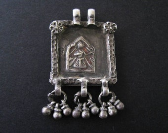 Antique Indian Amulet, Hoi Mata Amulet, Pendant, Rajasthan, India, High Grade Silver, 14.3 Grams