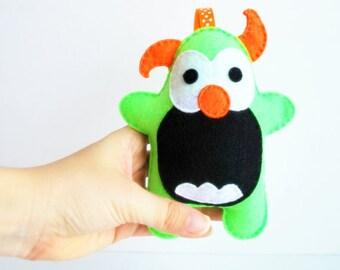 Felt Monster Plush Toy, Handmade Felt Monster, Nursery Decor, Baby toy, Ready to Ship
