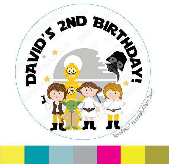 Star Wars Stickers, Party Personalized Star Wars Birthday, PRINTED round Stickers, tags, Labels or Envelope Seals A1257