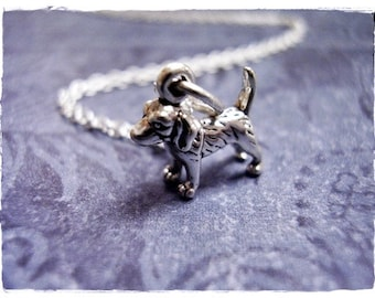 Tiny Silver Beagle Dog Necklace - Sterling Silver Beagle Charm on a Delicate Sterling Silver Cable Chain or Charm Only