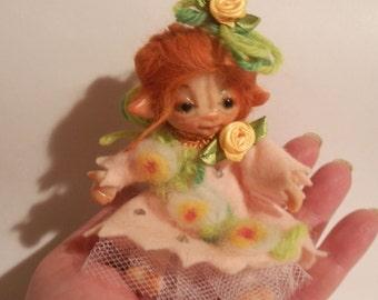 Ooak Miniature  Posable little Magic Fairy sculpt handmade Unique Piece  Fairy Dolls, collectible fairy dolls, polymer clay dolls