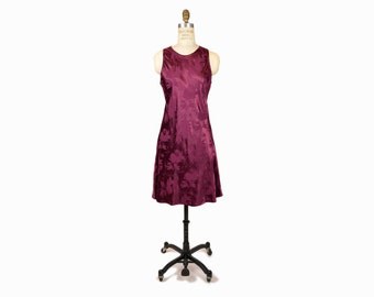 Vintage 90s Floral Jacquard Dance Dress in Burgundy Red Wine - women's medium