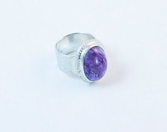 Purple Charoite Ring in Sterling Silver Size 7