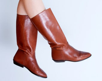 Caramel Leather Boots / Nine West Tall Riding Boots 80's Hipster / Women's Size 8