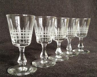Perfect mini vintage precious glasses. Set of five. Hostess Christmas gift idea.