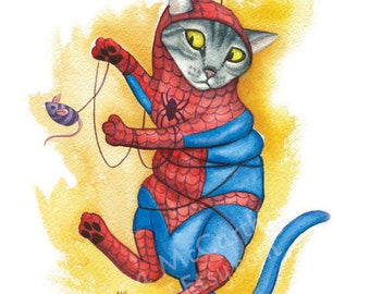 "Spidey Cat - Watercolor 8x10"" print of a cat as Spider-Man tangled in his web"
