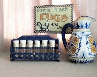 Rustic Farmhouse Spice Rack with Jars / Upcycled Spice Rack in Dark Blue / Shabby Farmhouse Spice Rack In Navy Blue