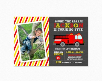 Fire Truck Birthday Party Invitation, Fireman Birthday Party Invitation, Red and Yellow, Personalized, Printable and Printed
