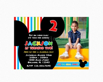 Mickey Mouse Birthday Party Invitation, Mickey Mouse Invitation, Clubhouse colors, Photo, Printable or Printed