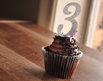 3rd Birthday Decorations.  Handcrafted in 2-3 Business Days.  Glitter Silver Number Cupcake Toppers 12CT.
