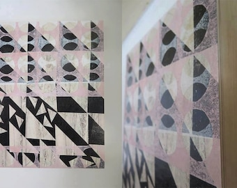 Original Geometric Abstract floral multi layered monoprint by Stef Mitchell Pastel Pink Influenced by interior 70s & modernist design