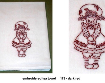 Hand Embroidered Dish Tea Towel Flour Sack Cotton Kitchen - Rag Doll Little Girl Maiden Retro Vintage Stamped Design
