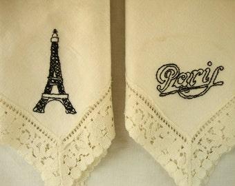 2 Vintage PARI PARRIS Lace Embroidered Linen Hand Towel French Tea Towel Black Embroidery Vintage White Eiffel Tower & Pari Pair of  Linens