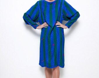 SALE silk dress Floral Kung vintage 80s blue green stripes geometric long sleeves midi LARGE