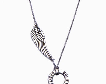 Believe Wing Necklace, Angel Charm, Silver Chain, Encouraging Inscription Jewelry Gift, Eternity Circle
