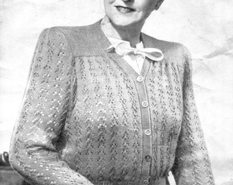 Lovely 1940s Ladies Plus Size Lace Cardgian 42 to 46 Bust Bestway 2174 Vintage Knitting Pattern Download PDF