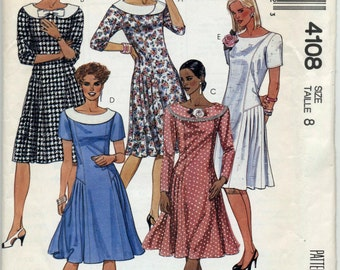 Vintage Dress With Sleeve Length Variations Sewing Pattern - McCall's 4108 - Size 8 - UNCUT