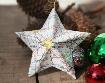 Raleigh, North Carolina - Vintage Map Covered Star Ornament - NC, Home Decor, East Coast, 3 Dimensional, Christmas, Tree