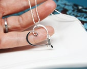 READY TO SHIP - Ring Holder Necklace in Sterling Silver, Heart Clasp Ring Holder Pendant, Argentium Silver Pendant
