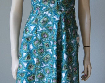 1940s New with Tag Novelty Print Cotton Day Dress // Jabot Bow // Pretty Colors // Framed Flowers // Mint // Small