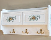 Wall Cabinet Hand Painted White with Floral Stencil / Jewelry Hangers / Cosmetic Storage / Nail Polish Cabinet / Bath Decor