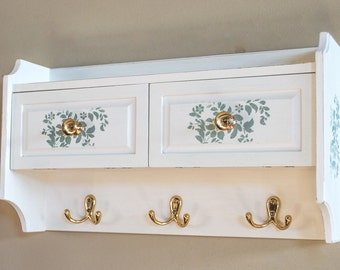 50% Off Wall Cabinet Hand Painted White with Floral Stencil / Jewelry Hangers / Cosmetic Storage / Nail Polish Cabinet / Bath Decor