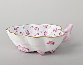 Herend Pink China Leaf Bowl Trinket Bowl Dish Cottage Chic Nappy Womans Gift