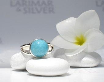 Larimarandsilver ring size 6.75, Turquoise Ocean - azure Larimar round, aqua, turquoise dot, Caribbean blue, mottled, handmade Larimar ring