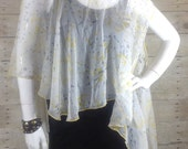 White Yellow and grey vest poncho scarf
