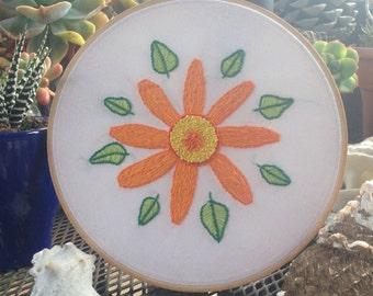 Hand Embroidered Hoop Art: Gerbera