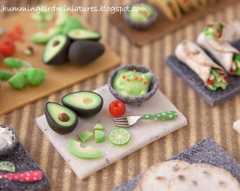 Making Guacamole Prep Board - in White 1/12 scale dollhouse miniature