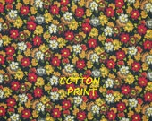 Fat Quarter, Black Orange Red, Floral Print, Craft or Quilting Cotton Fabric, Daisies, Summer Flowers, 22 x 18, B44