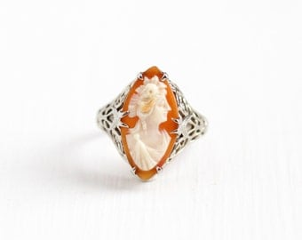 Antique 10k White Gold Flower Filigree Cameo Ring - Size 7 Vintage 1920s 1930s Art Deco Carved Shell Marquise Classic Fine Jewelry