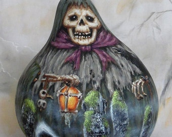 """The Ghoul and the Skull Tree, hand painted Halloween gourd, 7 1/2"""" tall"""