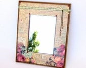 Small Mirror Decoupaged Vintage Style Mixed Media Wall Art Mirror Crystal Lace Embellished Pink Roses Mothers Day Gift for Mom