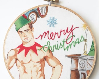 Hand Embroidered Hoop Art. Embroidery Hoop wall Hanging. Sexy Christmas Man. Funny Gift for Her. Novelty Gift. Sexy Santa Fabric Embroidery.