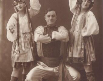 Russian Dancers in Berlin, Vintage German Promotional RPPC, circa 1910s