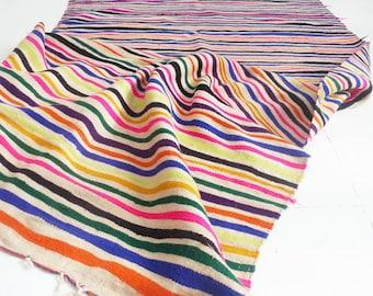 Vintage Moroccan Wool Kilim Rug - Stripes