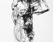 "Expressive Male Nude Art - Drawing 426 - 9 x 12"" charcoal on paper - original drawing by Derek Overfield"