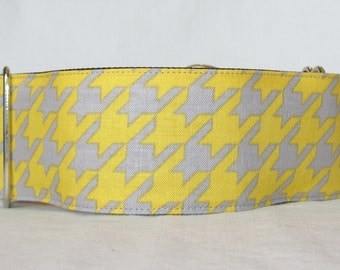 Yellow Houndstooth Martingale Dog Collar - 1.5 or 2 Inch - gray grey mustard classic geometric pattern stylish handsome