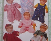 Baby Doll Clothes for 14 to 15 inch and 17 to 18 inch Dolls UNCUT Butterick Pattern 5729