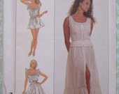 Misses Cute Camisole, Skirt and Teddy Sizes 12 14 16 Vintage 1980's Simplicity Pattern UNCUT