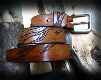 Mens Leather Belt, Hand Made Belt, Custom Belt, Light Forest, Size 30
