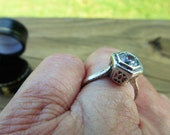 Antique Ring Filigree Sterling Setting (Size 6 and One Half) Exceptional  3/4 Kt Highly Faceted Rosecut Glass Stone